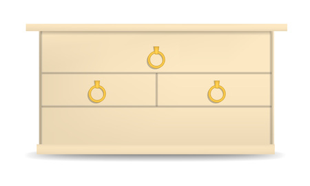 Golden drawer mockup, realistic style