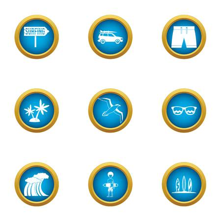 Rest on the wave icons set, flat style Illustration