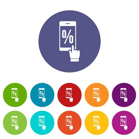 Percent on screen icons set vector color Illustration