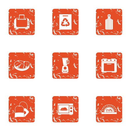 Meat processing icons set, grunge style