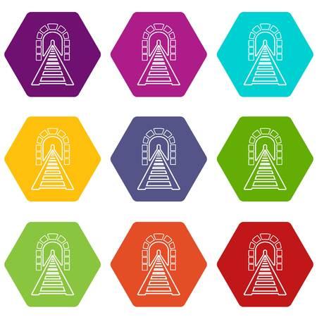 Railway tunnel icons set 9 vector Illustration
