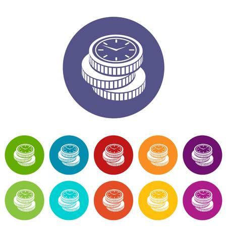 Coin icons set vector color Stock Vector - 102089854