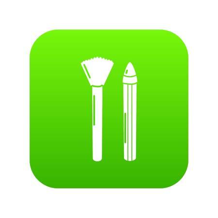 Brush pencil icon green vector