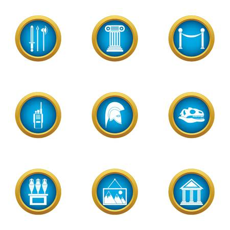 Museum of antiquities icons set, flat style