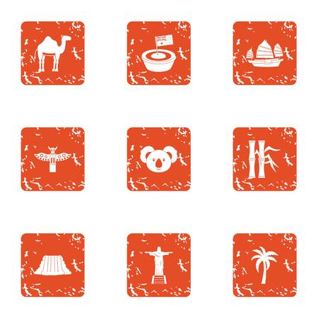 American continent icons set, grunge style Illustration