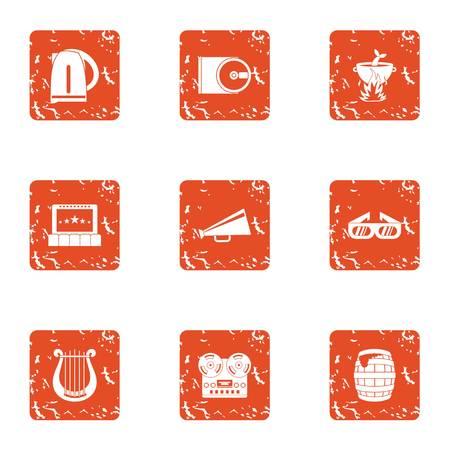 Notify icons set, grunge style