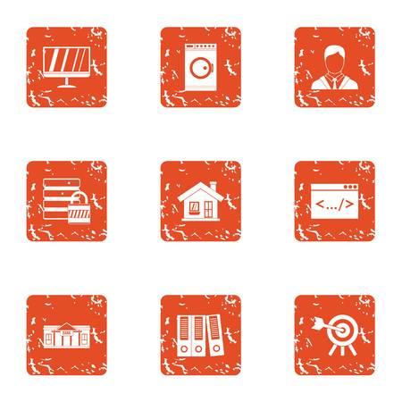 Conjunto de iconos de información personal, estilo grunge Ilustración de vector
