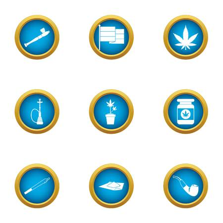 Drug dependence icons set, flat style Stock Illustratie
