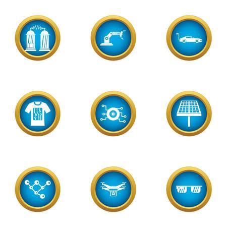 Alternative energy icons set, flat style
