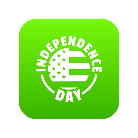 Independence day icon green vector Illustration