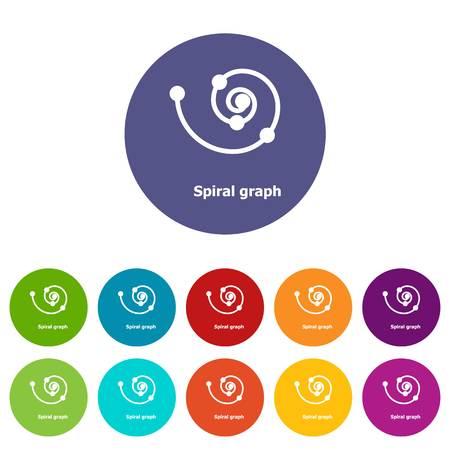 Spiral graph icons set vector color Vectores