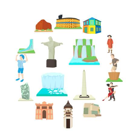 Argentina travel icons set, cartoon style