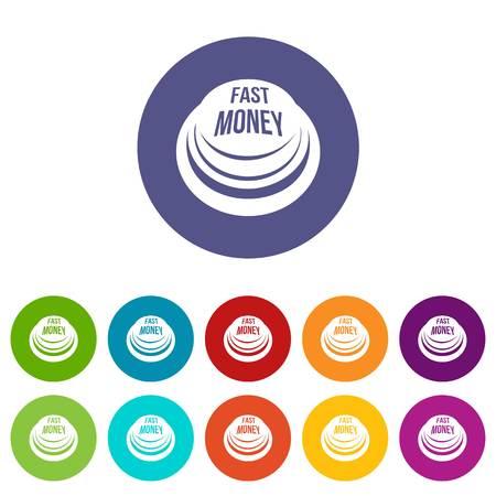 Fast money button icons set vector color