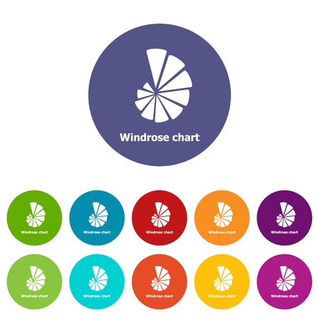 Windrose chart icons set vector color