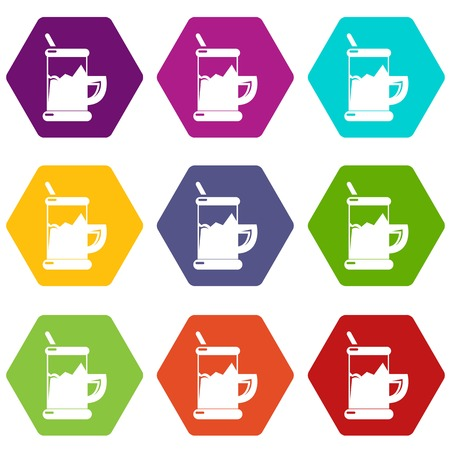 Metal glass cup tea icons set 9 vector