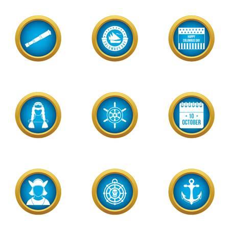 Seafarer icons set, flat style