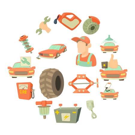 Car repair items icons set, cartoon style