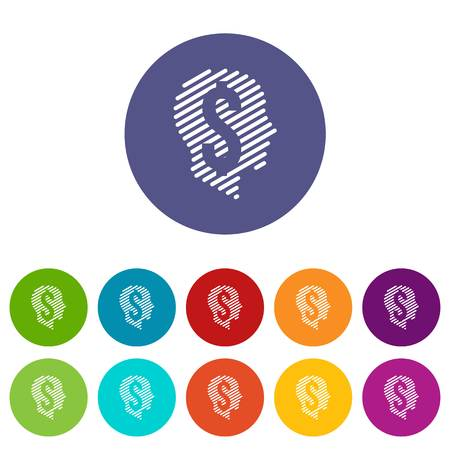 Dollar sign icons set vector color