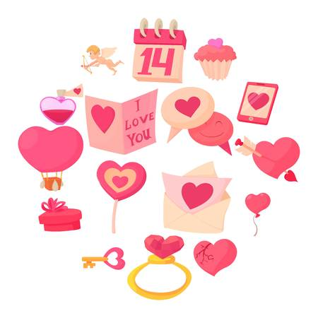 Saint Valentine icons set, cartoon style