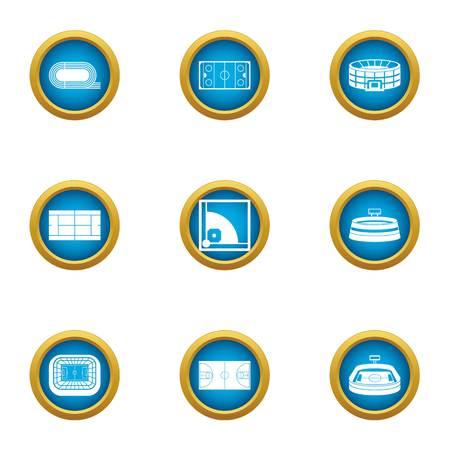 Large stadium icons set, flat style