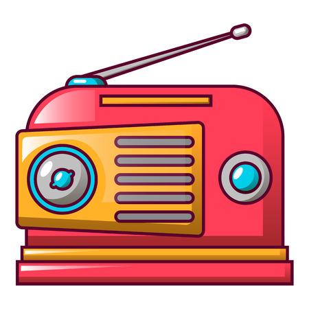 Red retro radio icon, cartoon style