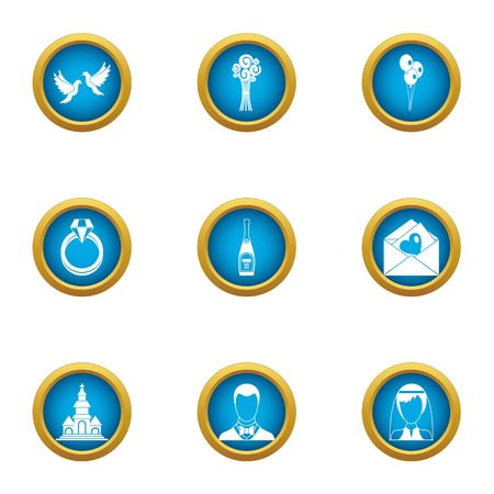 Married couple icons set, flat style