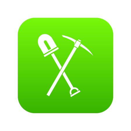 Shovel and pickaxe icon digital green