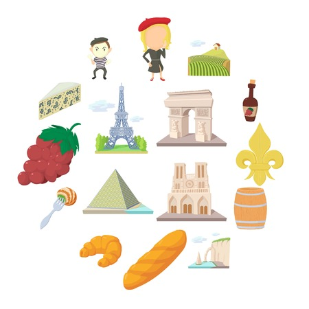 France travel icons set, cartoon style