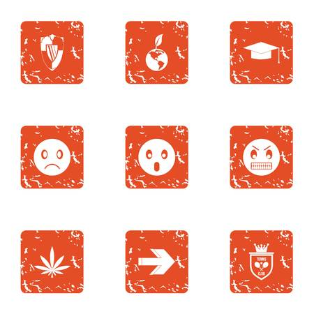Defensive anger icons set, grunge style