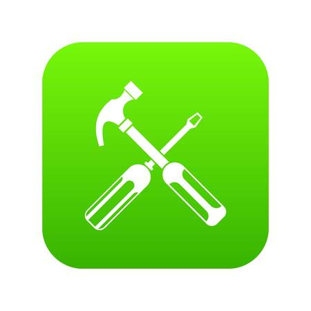 Hammer and screwdriver icon digital green Illustration