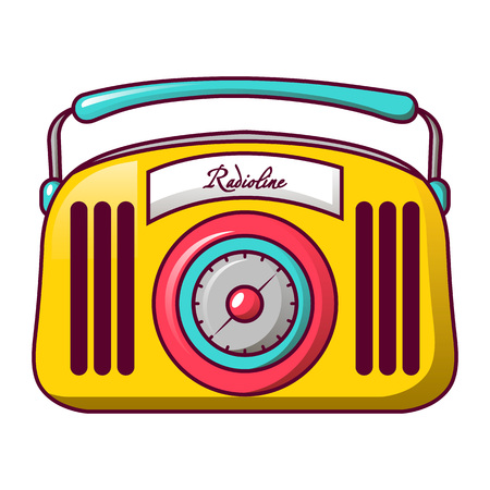 Red radio line icon, cartoon style Illustration