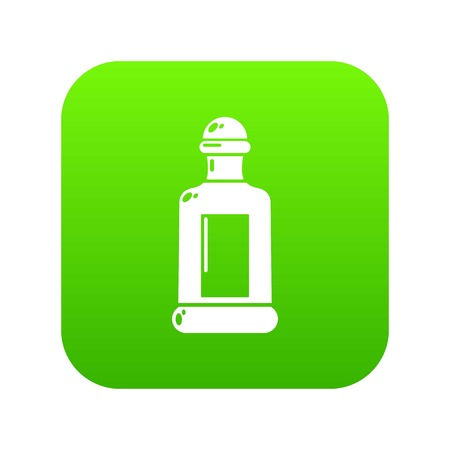 Square bottle icon green vector Illustration