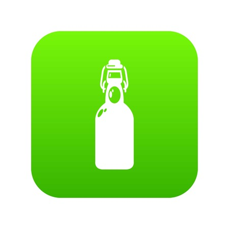 Bottle with bung icon green vector Иллюстрация