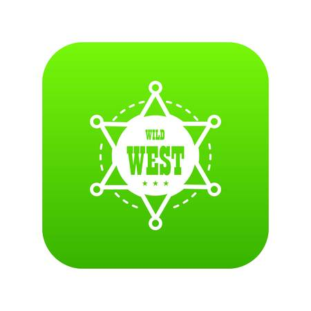 Wild west icon green vector