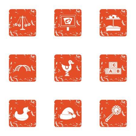 Game on avenue icons set, grunge style Illustration