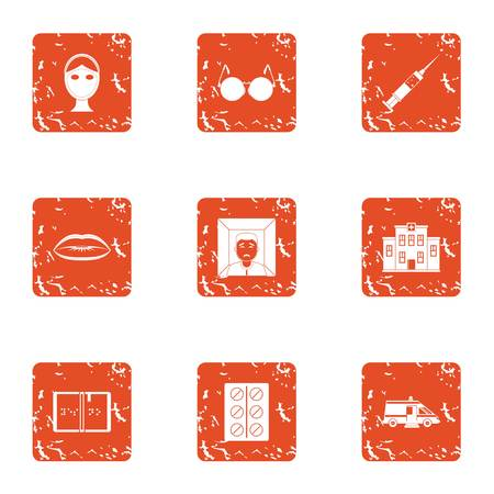 Scientific medicine icons set, grunge style