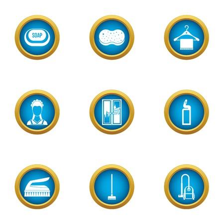Wash away icons set, flat style
