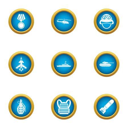 Hero icons set, flat style