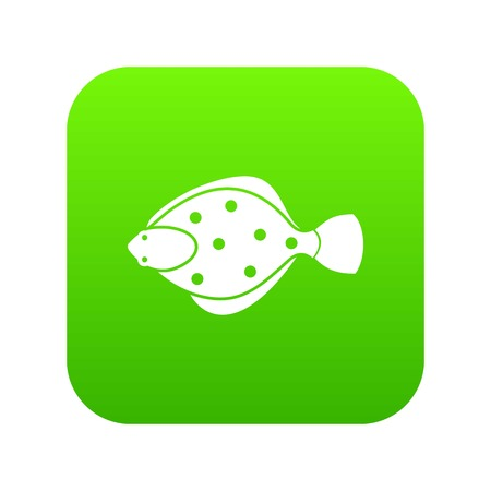 Flounder fish icon digital green