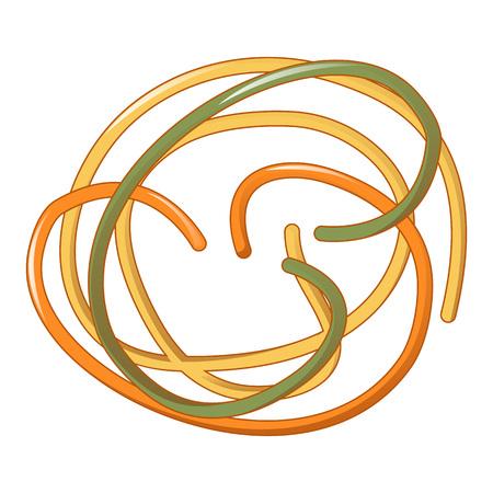 Tricolore spaghetti icon, cartoon style