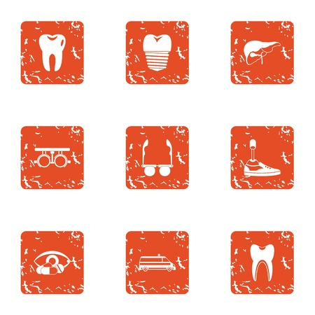 Prosthetic appliance icons set, grunge style