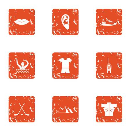 Water performance icons set, grunge style