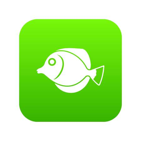Tang fish, Zebrasoma flavescens icon digital green