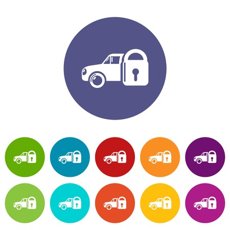 Insurance car icons set vector color