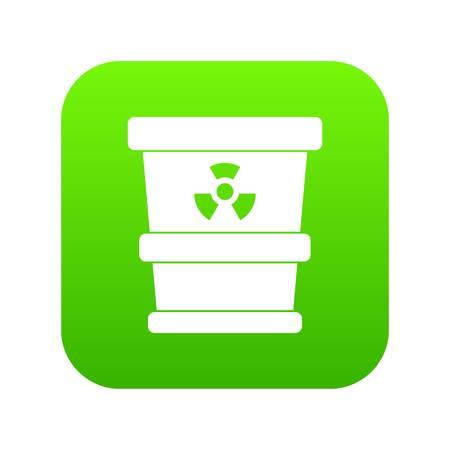 Trashcan containing radioactive waste icon digital green