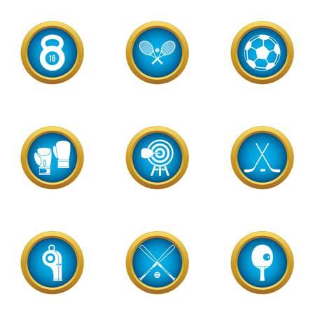 World sport icons set, flat style