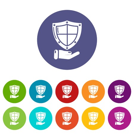 Shield icons set vector color