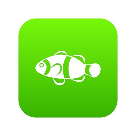 Cute clown fish icon digital green