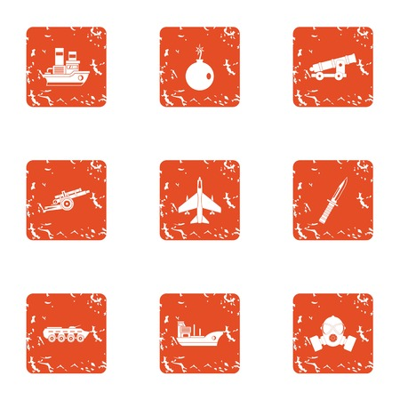 Technical war icons set, grunge style