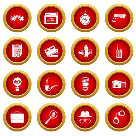 Spy icons set, simple style